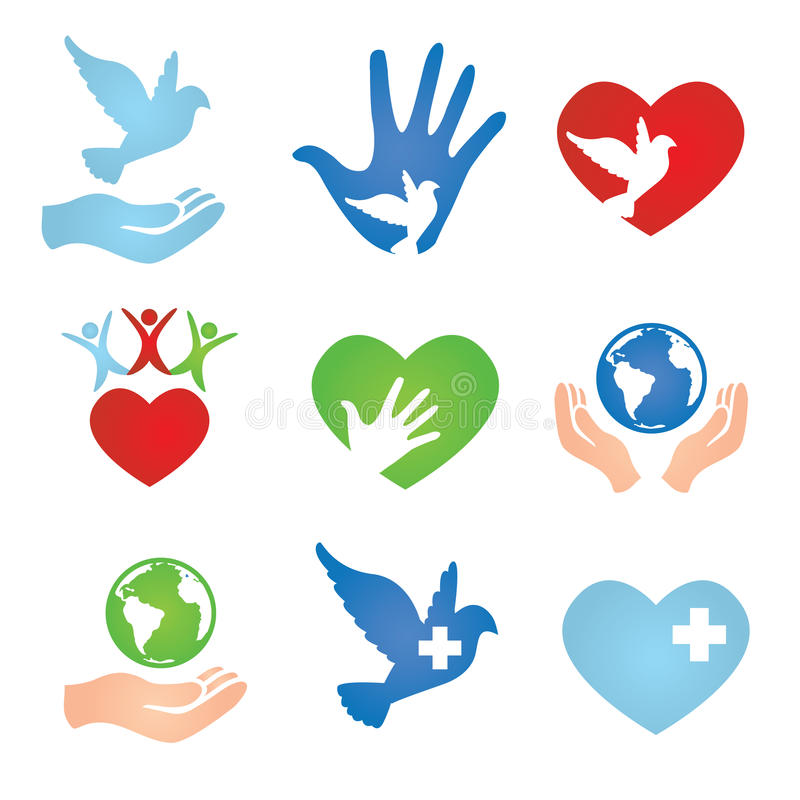 Donation and Charity Icons stock illustration