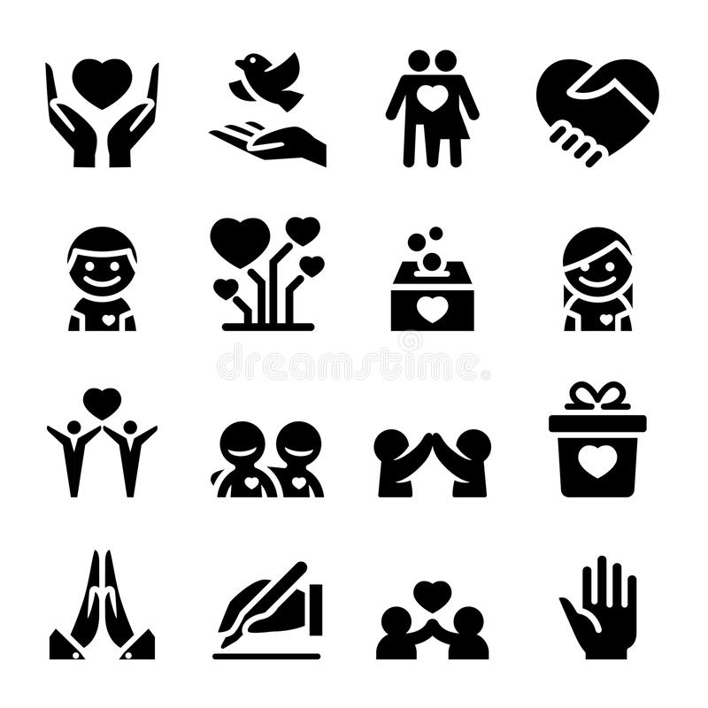 Donation & Charity icons set vector illustration