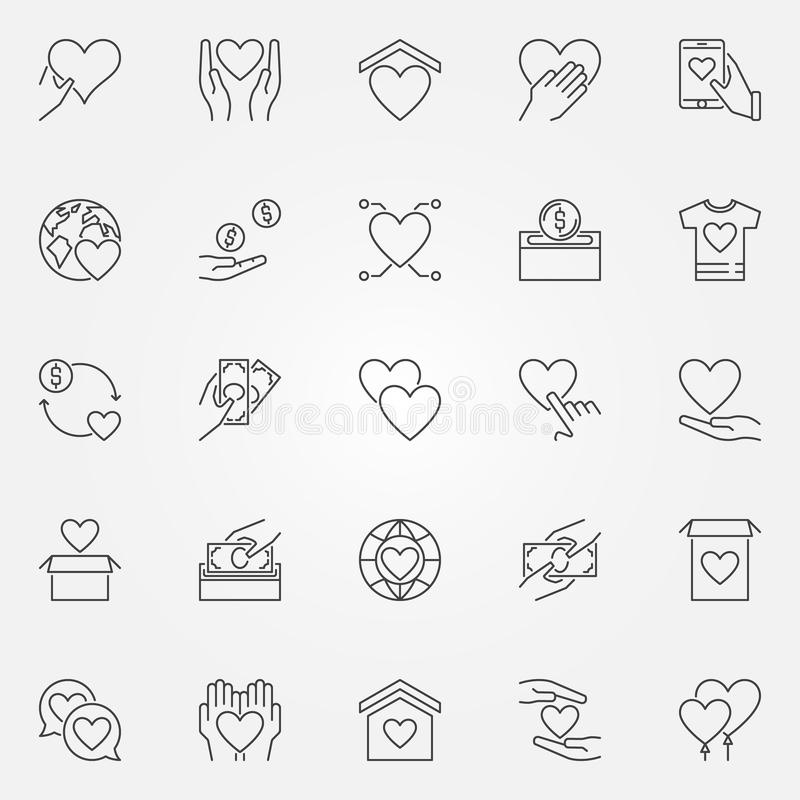 Donation and charity icons set - vector donate outline symbols stock illustration
