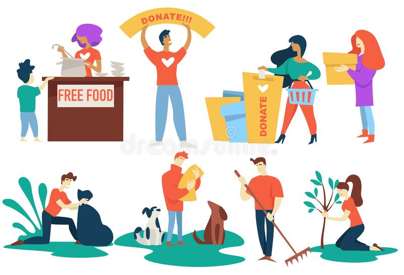 Donation and charity volunteers free food and pet protection stock illustration