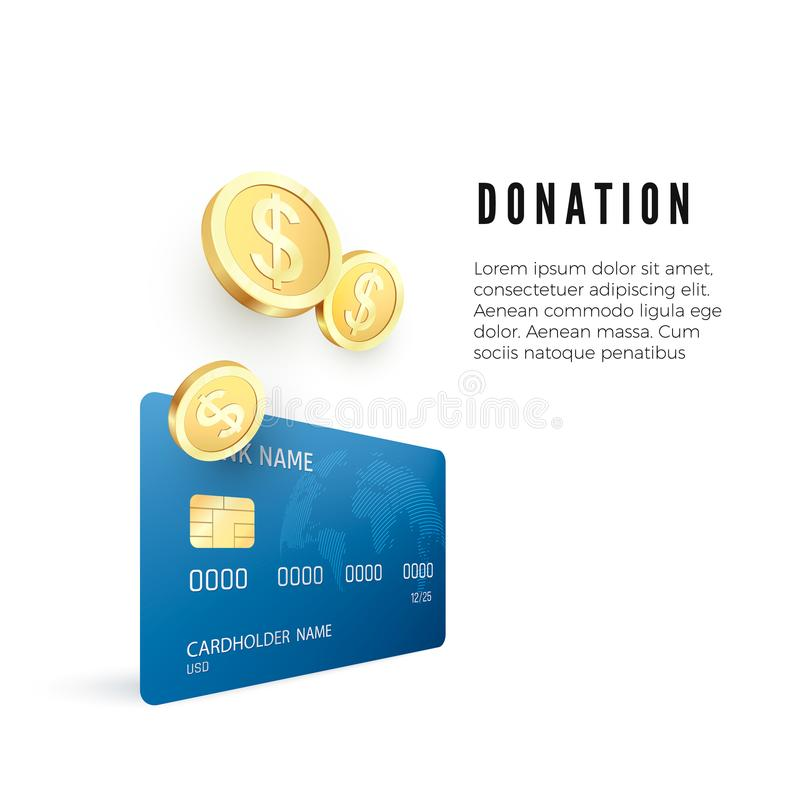 Donation concept. Golden coin collect on credit card. Vector illustration vector illustration