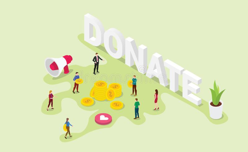 Donation concept with team people give money or share with modern isometric style and big word - vector vector illustration
