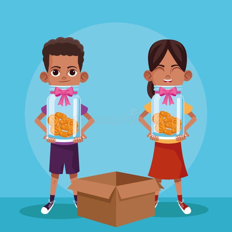 Donation d'enfants et bande dessinée de charité illustration de vecteur