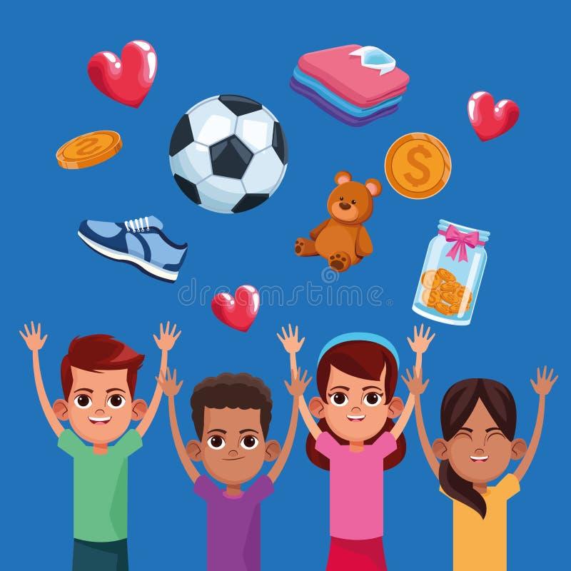 Donation d'enfants et bande dessinée de charité illustration stock