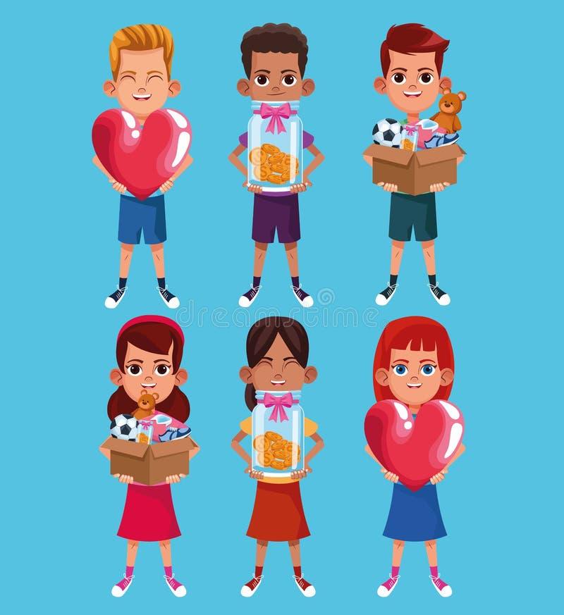 Donation d'enfants et bande dessinée de charité illustration libre de droits