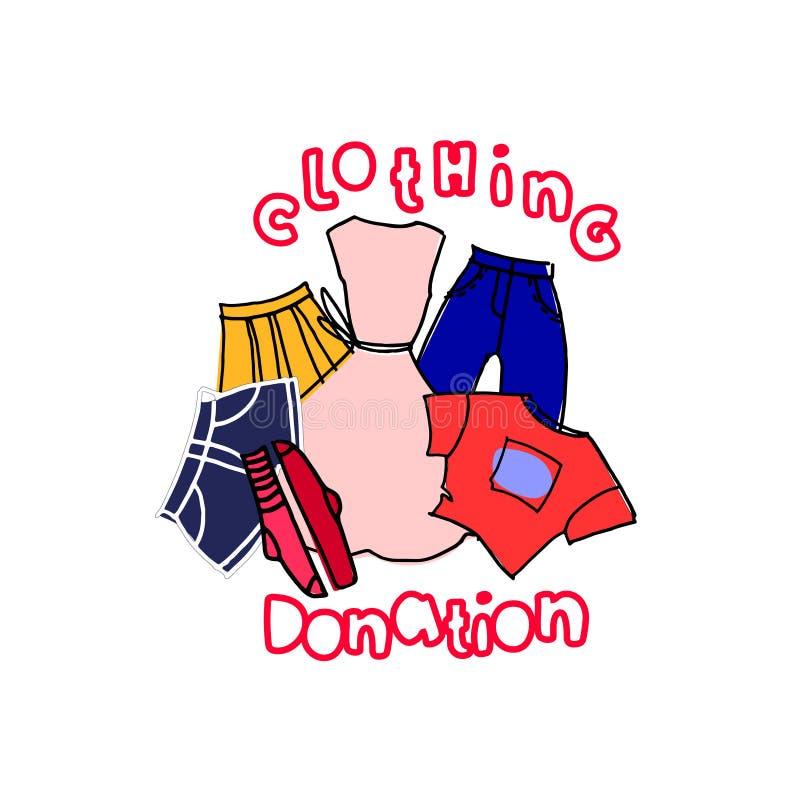 Donation d'habillement Illustration au concept et au calibre d'annonce Vêtements et lettrage tirés par la main de main, style de  illustration stock