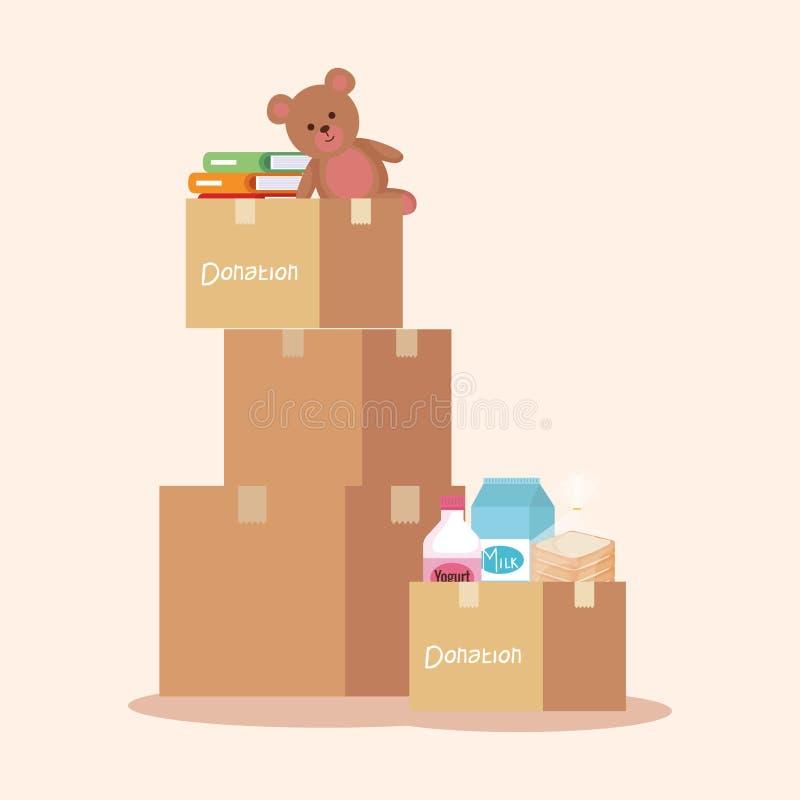 Donation de boîtes avec les livres et le nounours avec la nourriture illustration de vecteur