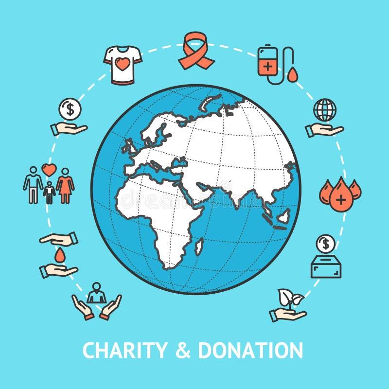 Donation de charité avec le globe de carte Vecteur illustration stock