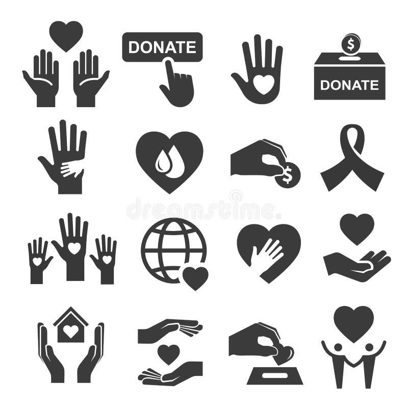 Donation de charité et ensemble d'icône de symbole d'aide illustration stock
