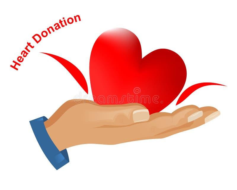 Donation de coeur, vecteur de cdr illustration stock