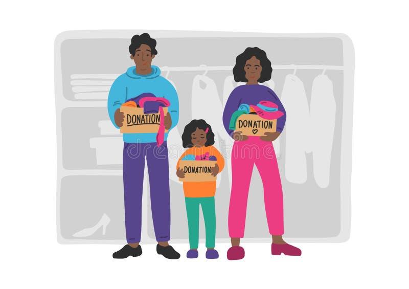 Donation de v?tements Famille africaine tirée par la main tenant des boîtes de donation illustration libre de droits