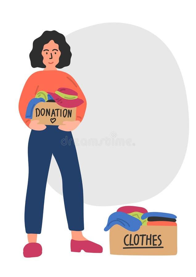 Donation de v?tements Femme tirée par la main mignonne tenant la boîte de donation illustration libre de droits