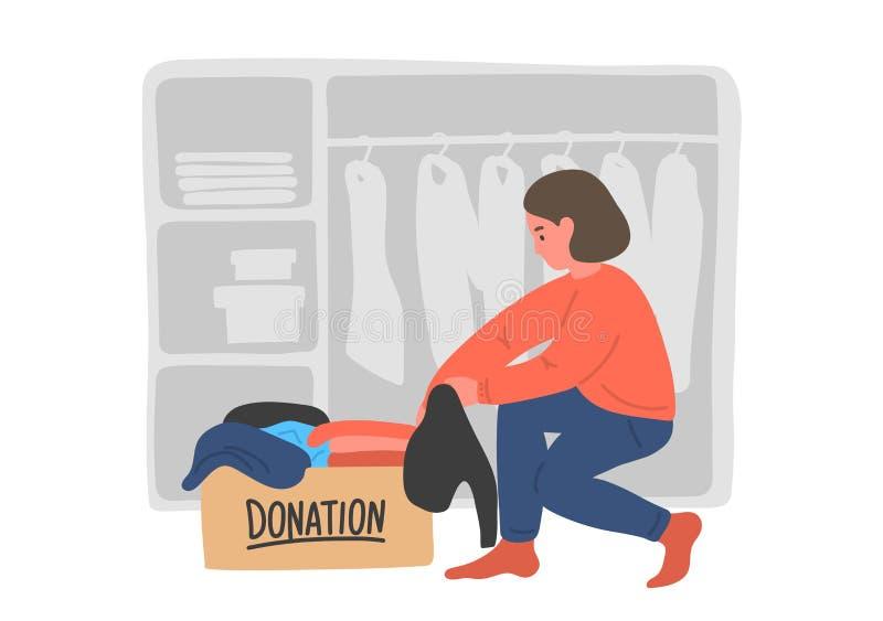 Donation de v?tements Jeune femme mettant des vêtements dans des boîtes de donation illustration libre de droits