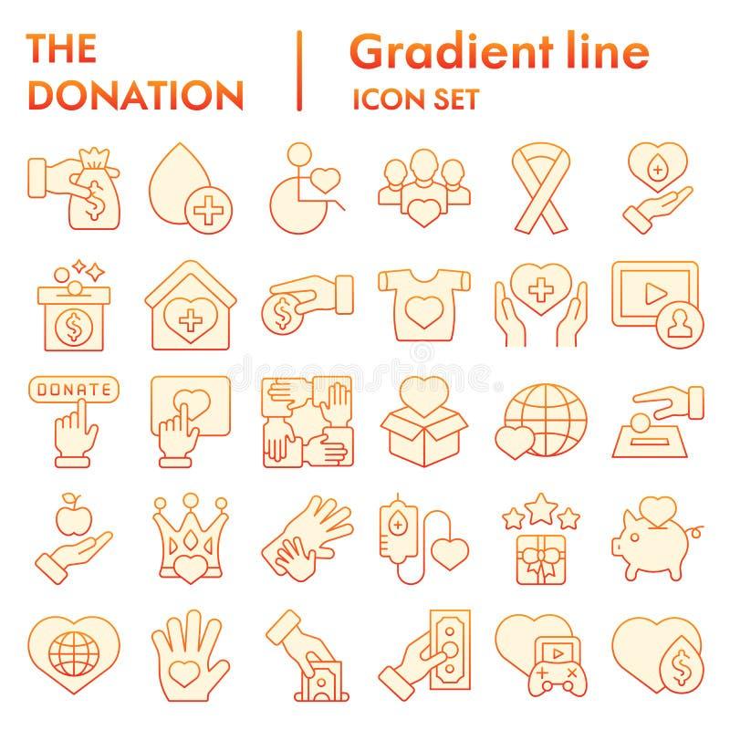 Donation flat icon set, charity symbols collection, vector sketches, logo illustrations, volunteer signs orange gradient royalty free illustration
