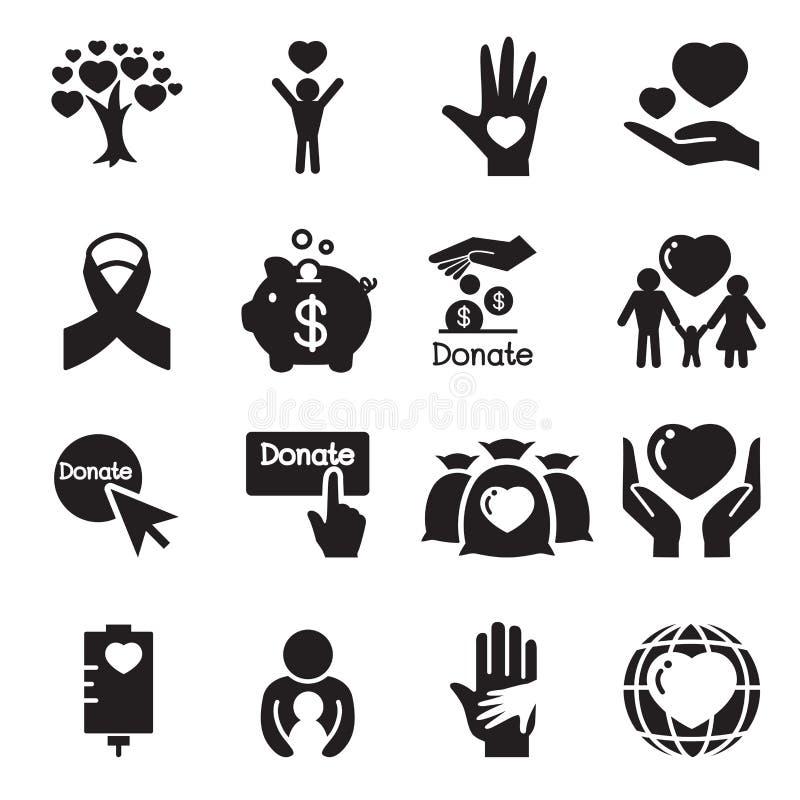 Donation & ge symbolsuppsättningen royaltyfri illustrationer