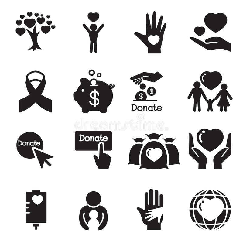 Donation & giving icons Set royalty free illustration