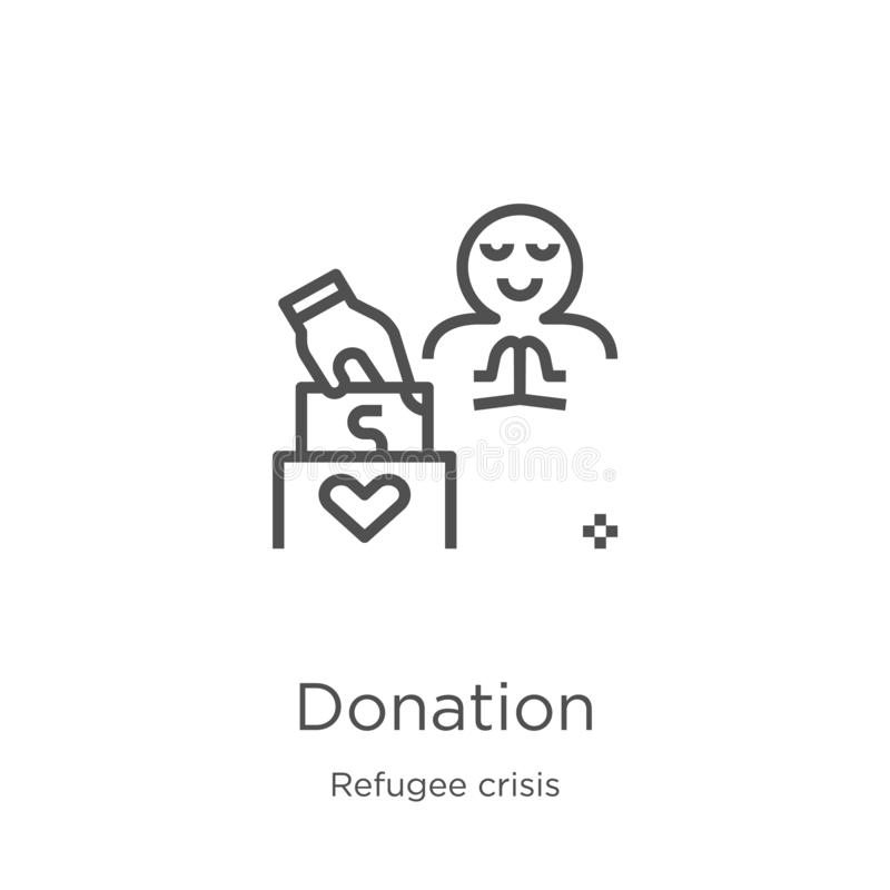donation icon vector from refugee crisis collection. Thin line donation outline icon vector illustration. Outline, thin line royalty free illustration