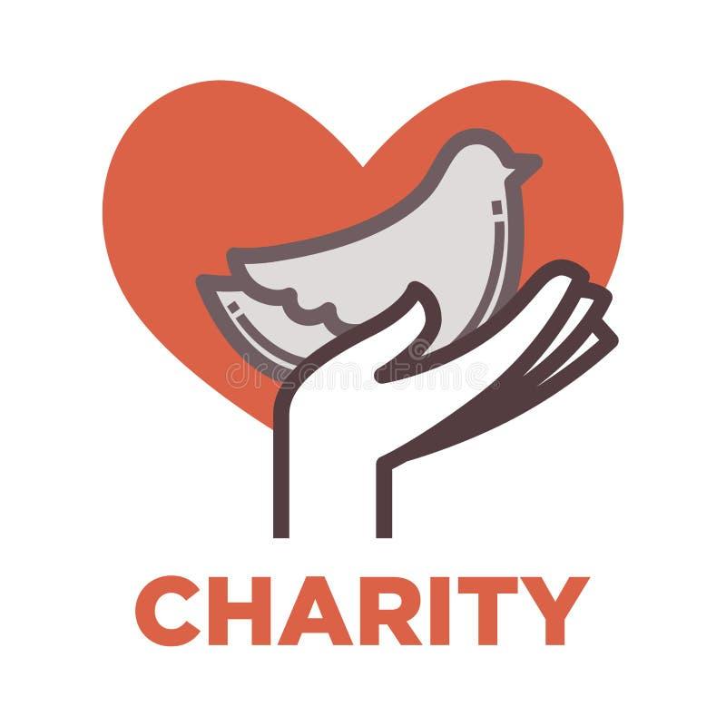 Donation och volontärarbetssymbol royaltyfri illustrationer