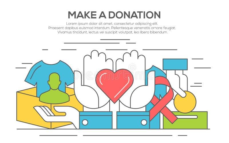 Donation och volontärbegrepp, linje lägenhetdesign stock illustrationer