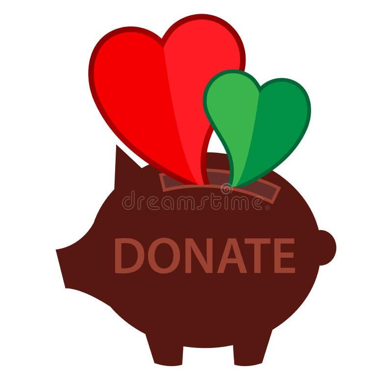 Donation Piggy bank icon on white background vector illustration stock illustration