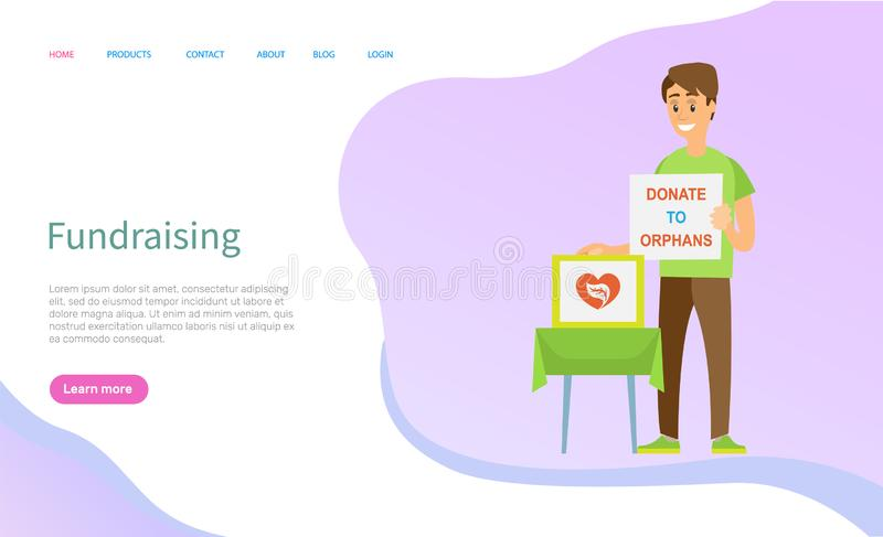 Donation Poster, Social Support, Volunteer Vector. Donate to orphans online, social fundraiser, portrait view of volunteer character standing with donation royalty free illustration