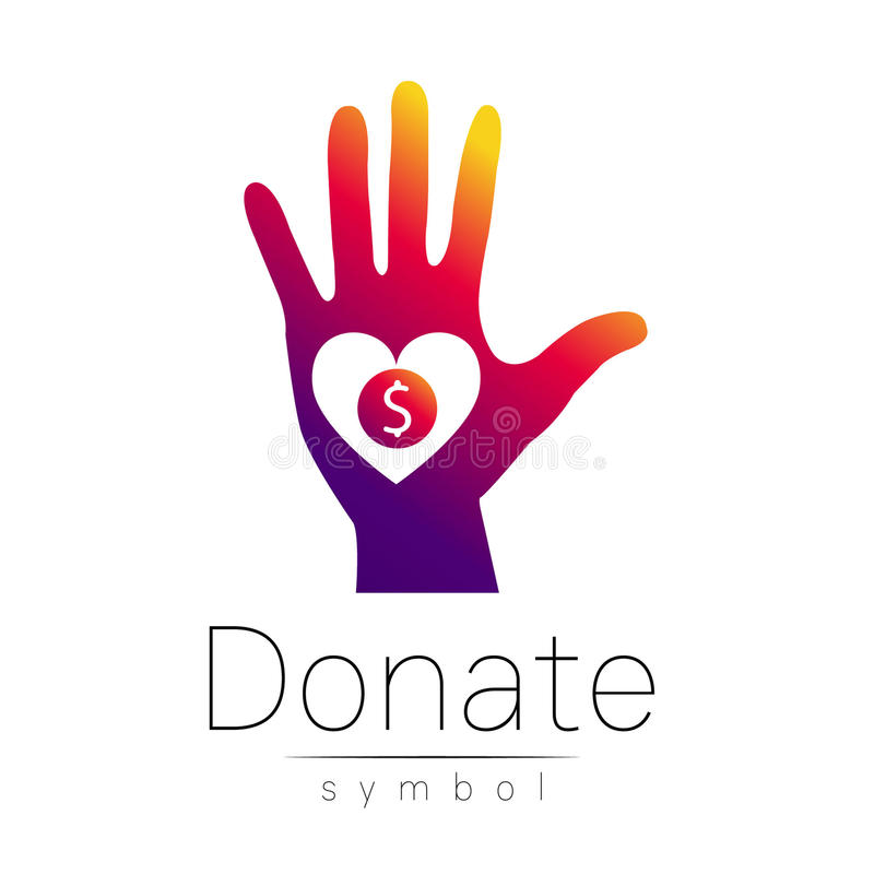 Free Donation Sign Icon. Donate Money Hand And Heart. Charity Or Endowment Symbol. Human Helping. On White Background. Vector Stock Photo - 82154420