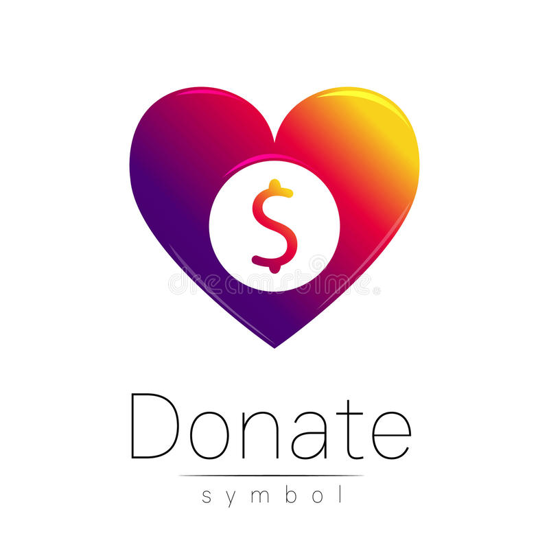 Free Donation Sign Icon. Donate Money Heart. Charity Or Endowment Symbol. Human Helping. On White Background. Vector.Violet Stock Photography - 82154252