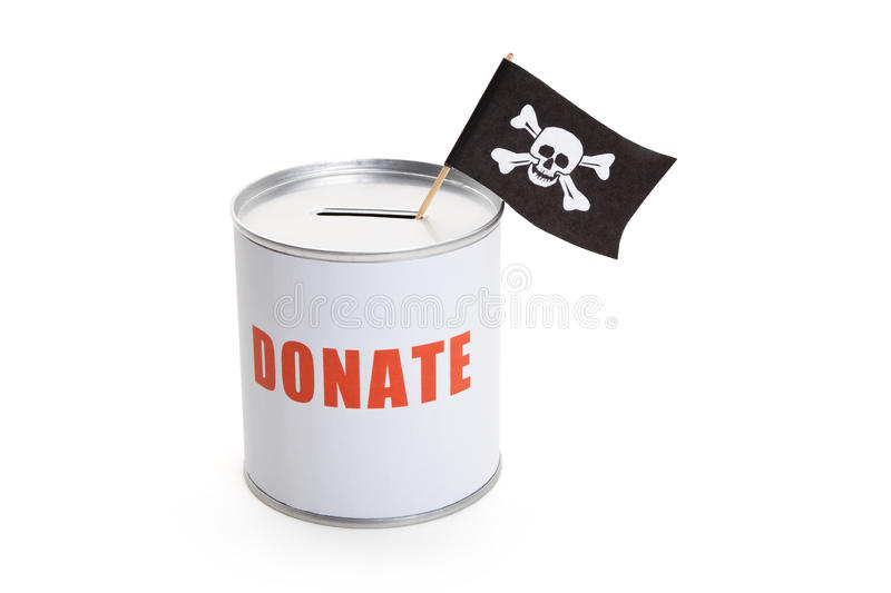 Donationasken och piratkopierar flaggan royaltyfri bild