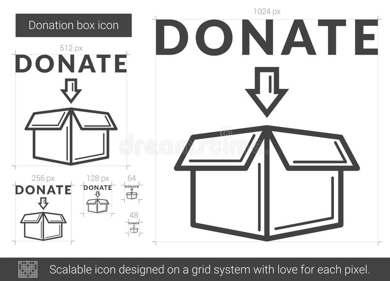 Donationasklinje symbol vektor illustrationer