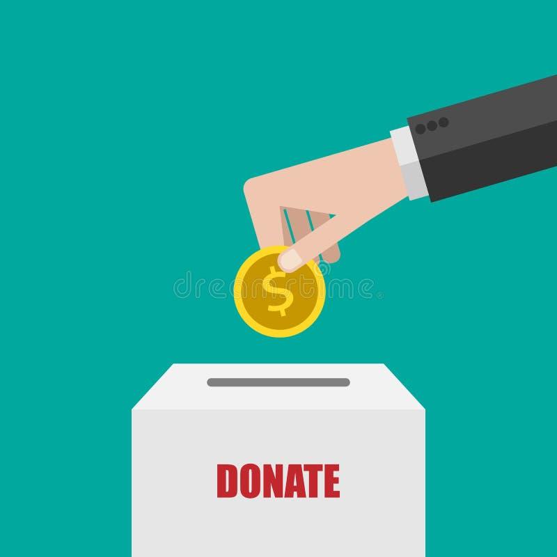 Donationbegrepp Donera pengar i den vita asken Online-betalning med smartphonen Affär finans Illustration för vektor EPS10 stock illustrationer