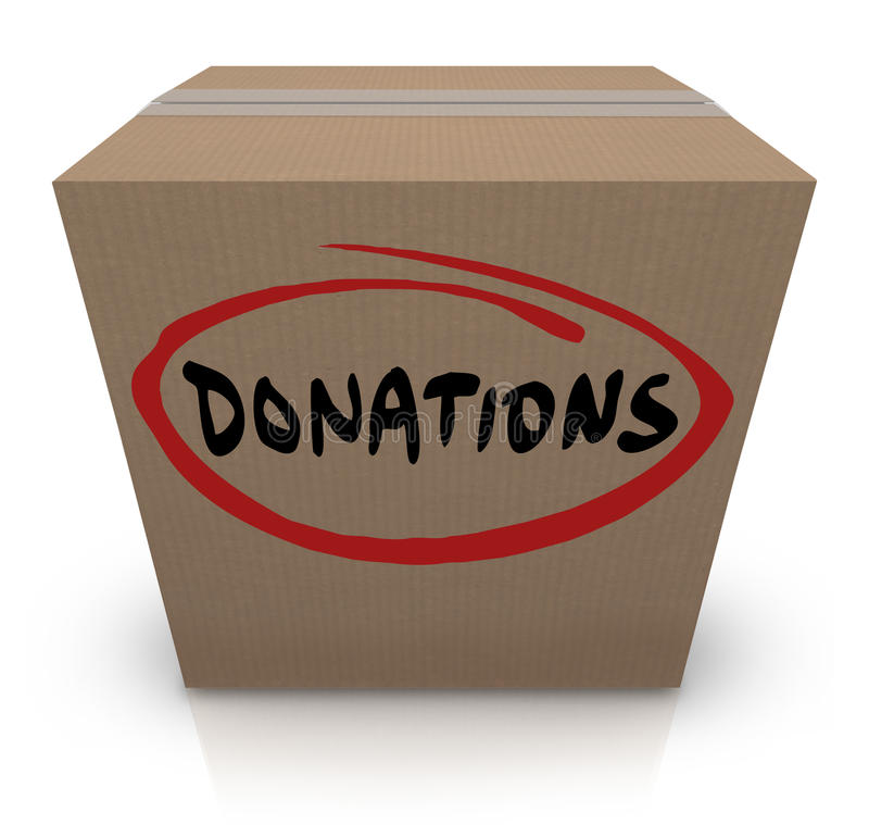 Donations Cardboard Box Food Charity Drive stock illustration