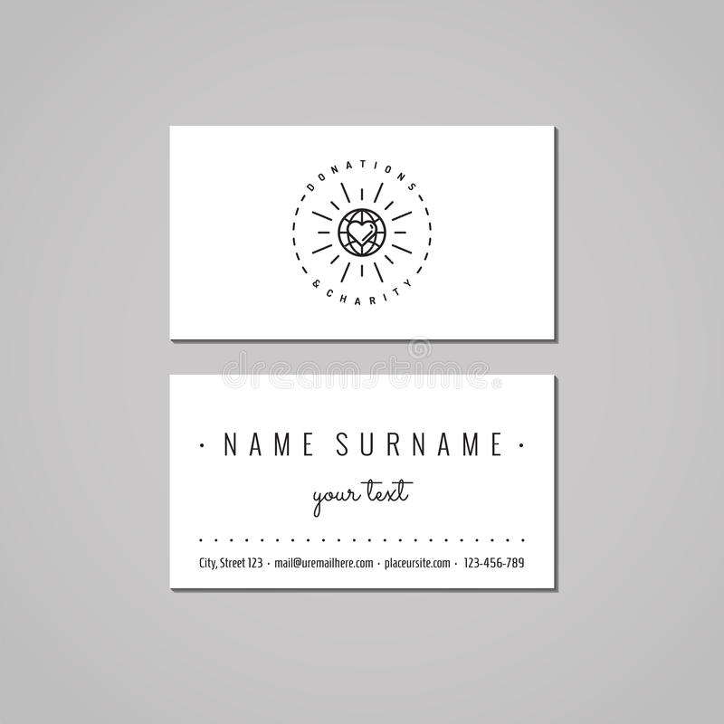 Donations & Charity Business Card Design Globe And Heart Logo. Stock ...