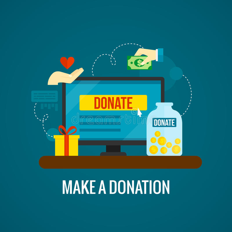 Donations en ligne avec l'icône d'ordinateur portable illustration de vecteur