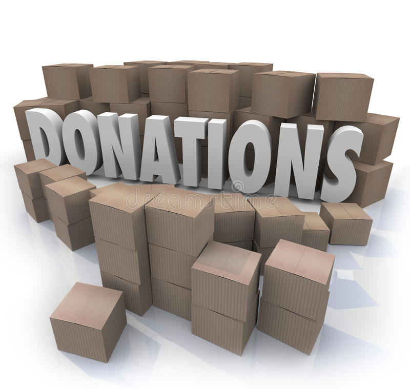 Donations Word Cardboard Boxes Charity Drive Collection Warehouse royalty free illustration