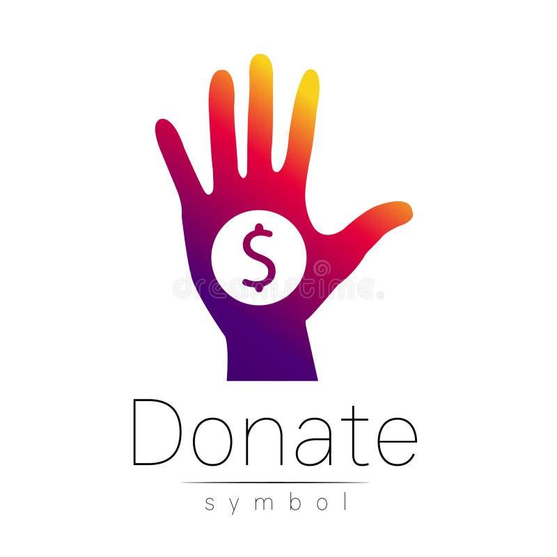 Donationteckensymbol Donera pengarhanden Välgörenhet- eller begåvningsymbol Mänsklig portion På vitbakgrund vektor violett vektor illustrationer