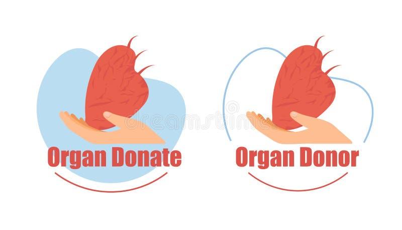 Donatore di organo, insieme piano delle icone di vettore di donazione del cuore illustrazione vettoriale
