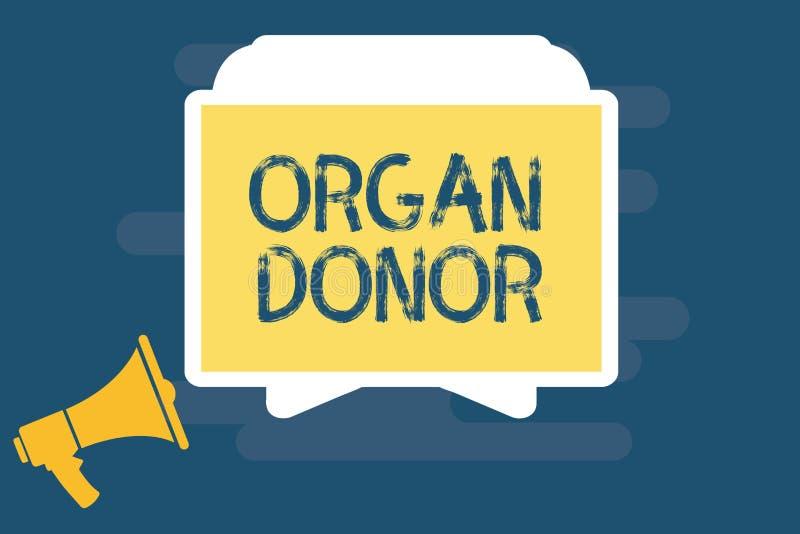Donatore di organo di scrittura del testo della scrittura Concetto che significa dimostrazione di A cui offre un organo dal loro  royalty illustrazione gratis