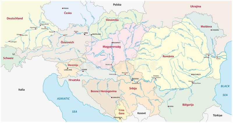 Donauöversikt vektor illustrationer