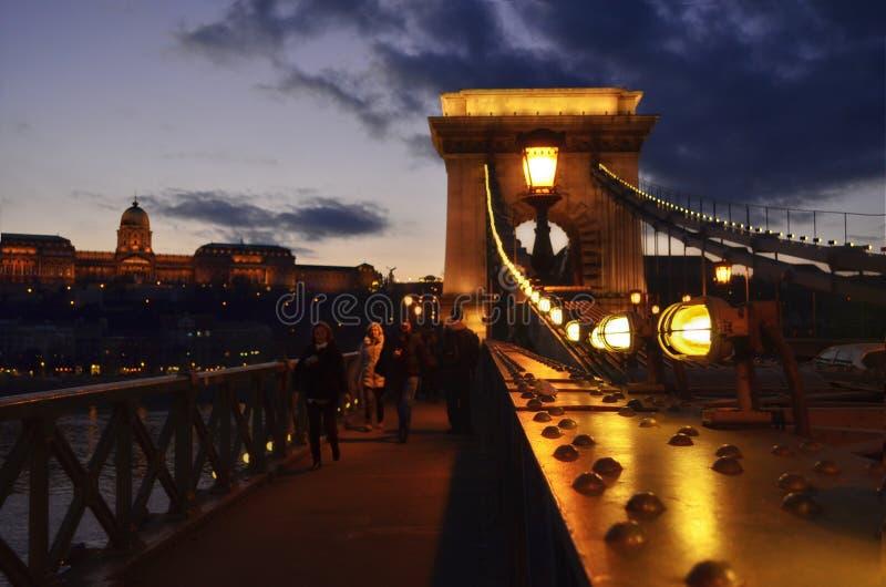 Donau-Brückenfluß mit Lichtern nachts stockbild