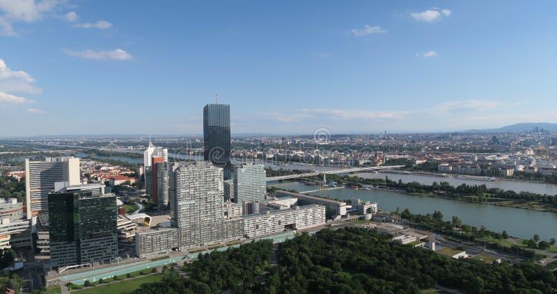 Donaucity鸟瞰图在维也纳奥地利 库存图片