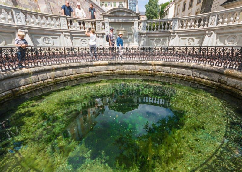 Donaueschingen, Deutschland - die Quelle von Donau lizenzfreie stockfotos