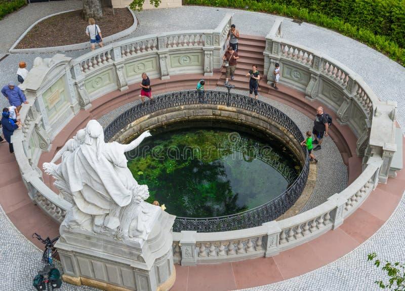 Donaueschingen, Deutschland - die Quelle von Donau lizenzfreies stockbild