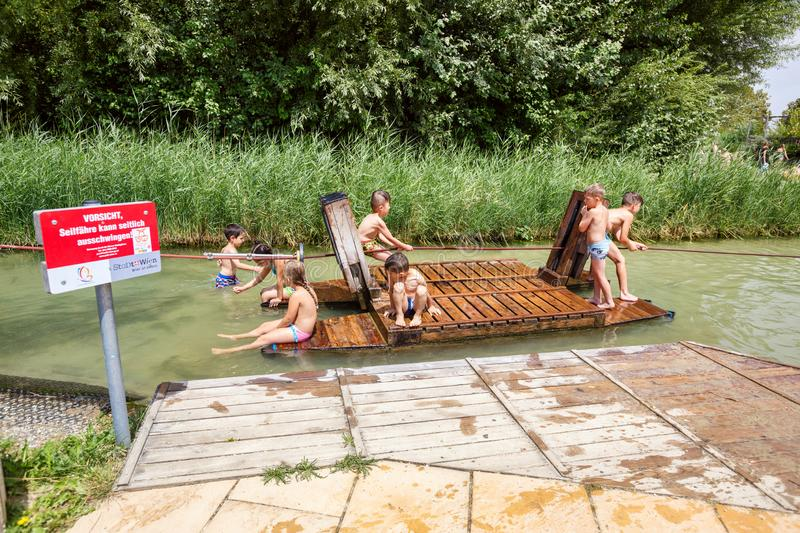 Donauinsel water playground for children on the Danube island. Donaustadt district, Vienna, Austria stock images