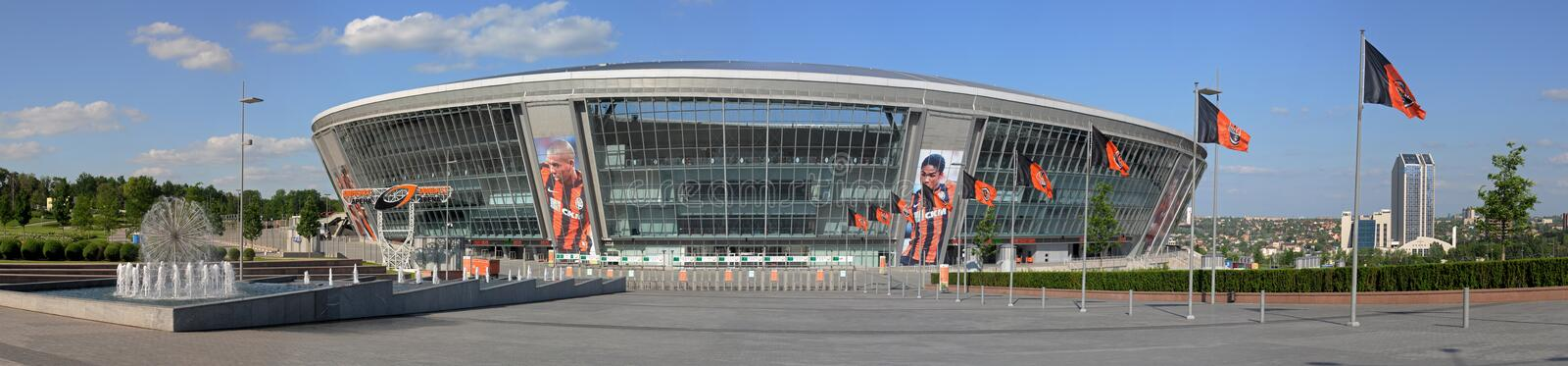 Donbass Arena. This is a panoramic view of modern ctadium. Donbass Arena or Donbas Arena is a stadium with a natural grass pitch in Donetsk, Ukraine ( disputed royalty free stock image