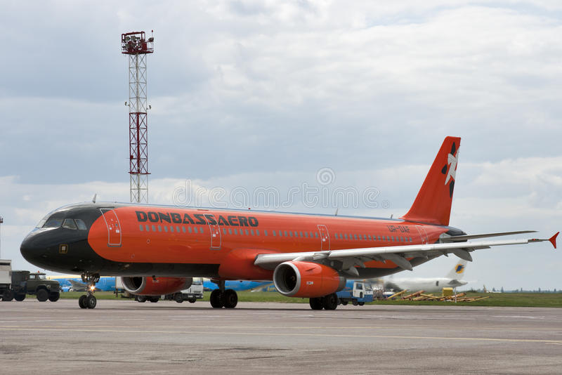 Donbassaero Airbus A320. Donbassaero airlines Airbus A320 jet aircraft parked in Boryspil International Airport in Kiev, Ukraine royalty free stock image