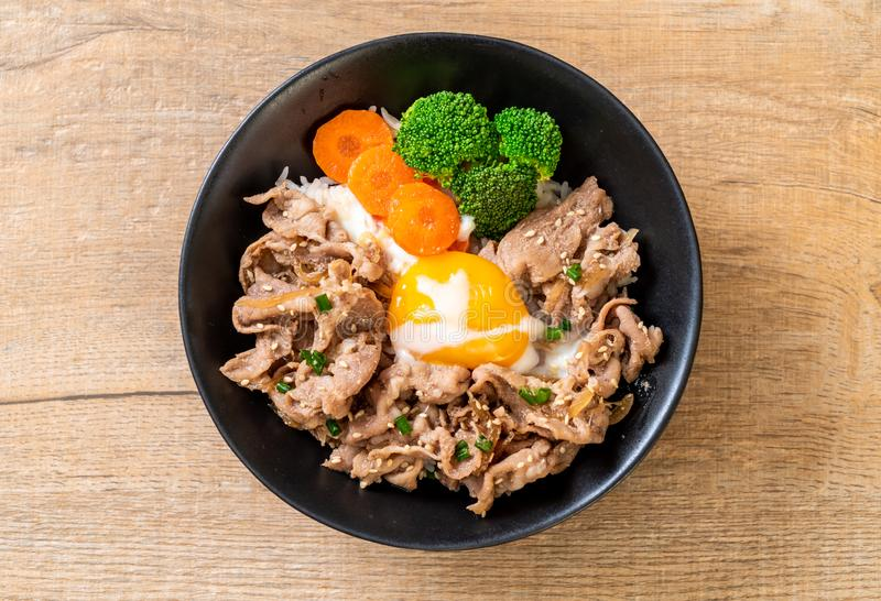 Donburi, pork rice bowl with onsen egg and vegetable. Japanese food style royalty free stock photos
