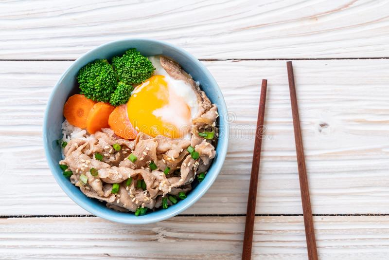 donburi, pork rice bowl with onsen egg and vegetable royalty free stock photos