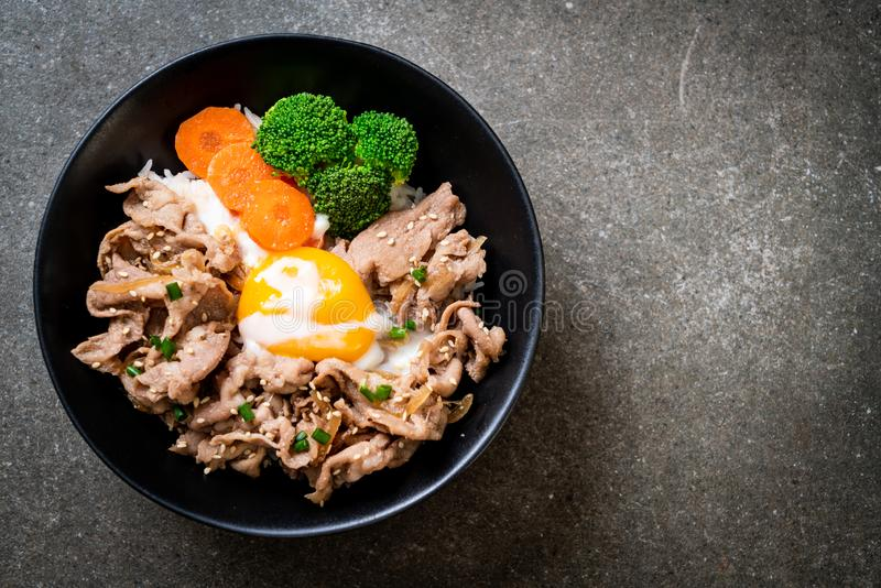 Donburi, pork rice bowl with onsen egg and vegetable. Japanese food style stock image