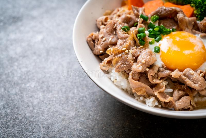 Donburi, pork rice bowl with onsen egg and vegetable. Japanese food style royalty free stock photo