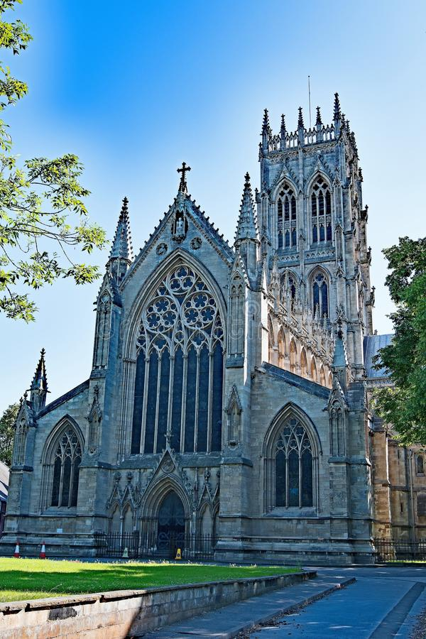 Doncaster Minster- Back and side view in the sunlight. royalty free stock image